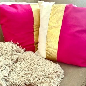 Etsy Pink and Gold (2) Pillow Case Covers 18x18